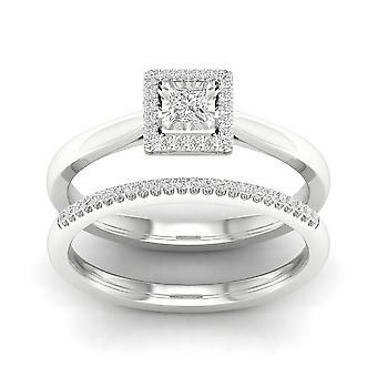 IGI certifié S925 argent 0,20 Ct TDW naturelles princesse diamant Halo Bridal Set