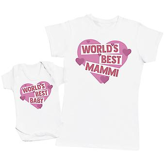 Worlds Best Mammi & Baby - Womens T Shirt & Baby Bodysuit