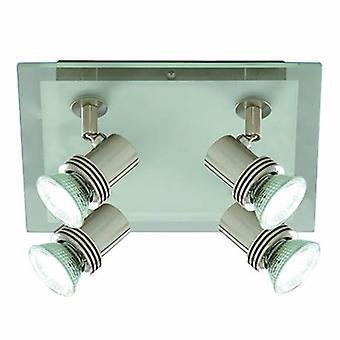 4 Luz ajustable techo cuadrado foco de plata satinado