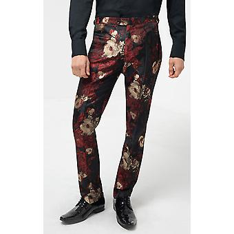 Dobell Mens Red/Black Smoking Spodnie Slim Fit Tropical Jacquard Print
