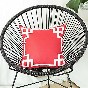 Square Red and White Geometric Decorative Throw Pillow Cover