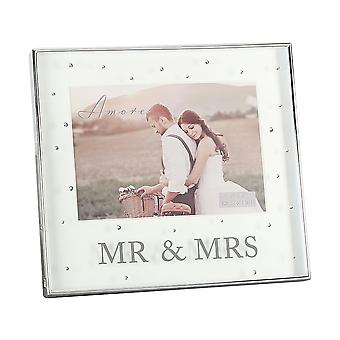 Amore Silver Plated Mr & Mrs 7 X 5 Box Photo Frame With Crystals