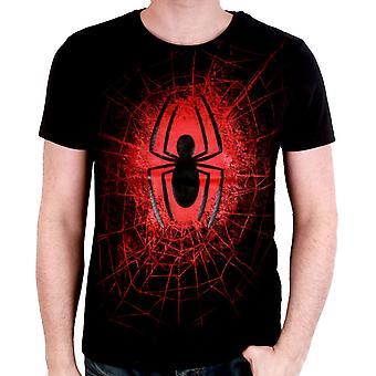 Punainen Spiderman rinnassa logo Marvel Comics virallinen T-paita