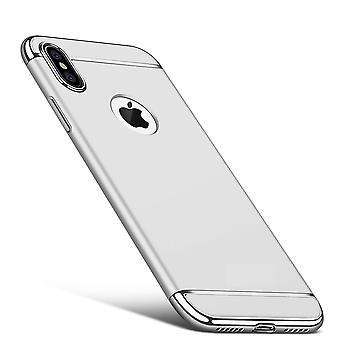 Cell phone cover case voor Apple iPhone X voorbumper 3 in 1 cover case zilver chrome