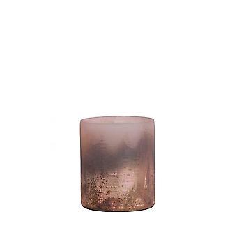 Light & Living Tealight 8x9cm - Valerio Matted Pink-Half Black