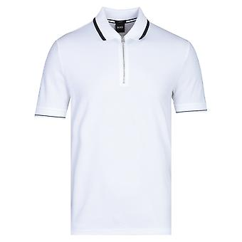 BOSS Polston Slim Fit Kurzarm weißes Poloshirt