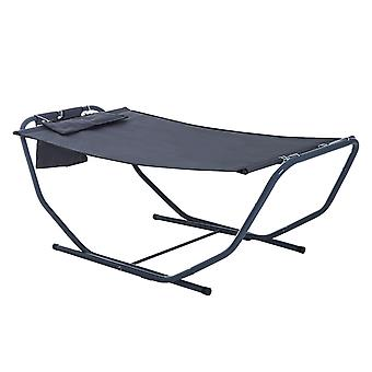 Outsunny Free Standing Hammock Bed Patio Garden Sun Lounger with Stand & Pillow - Grey