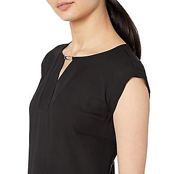 A. Byer Junior's Cuffed Cap Sleeve Top, Midnight, Midnight Black, Size Large
