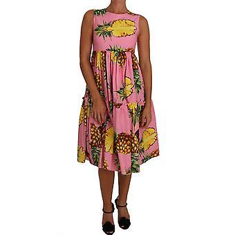 Dolce & Gabbana Pineapple-Print A-Line Sheath Pink Dress