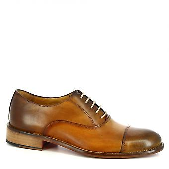 Leonardo Shoes Men's handmade elegant oxfords shoes in tan calf leather