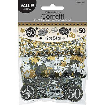 Amscan 1.2oz Gold Sparkling 50th Birthday Confetti
