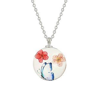 جمع الأبدية زهرة عدن وفراشة المرجان / الأزرق / الوردي قلادة الزجاج