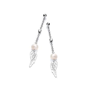 David Deyong Sterling Silver & Pearl Angel's Wing Drop Earrings