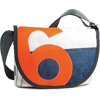 360 Degree Pearl Satchel Women's Handbag in Canvas and Tweed with Number Neon Orange Canvas Bag