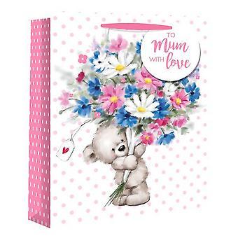 Eurowrap Cute Teddy Mothers Gift Bags (Pack of 12)