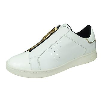 Geox D Jaysen A Womens Nappa Leather Zipped Trainers - White