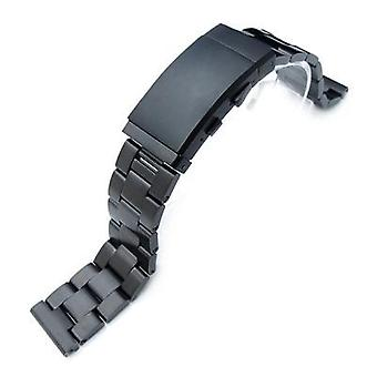 Strapcode watch bracelet 19mm, 20mm or 21mm super oyster solid stainless steel straight end watch band, pvd black, wetsuit ratchet buckle