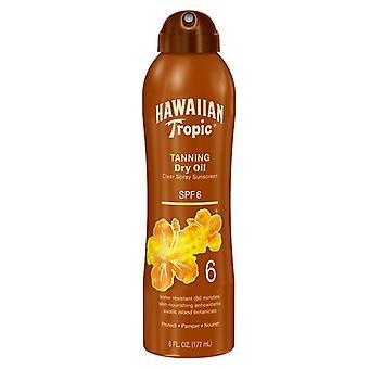 Hawaiian tropic bronceado bronceador spray transparente de aceite seco, spf 6, 6 oz
