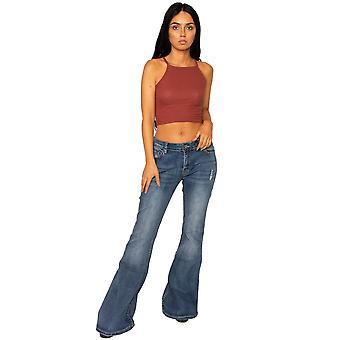 70s Style Ripped Bell-bottom Wide Flared Jeans
