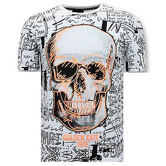 Camiseta Caveira - Strass - 7356 - Branco