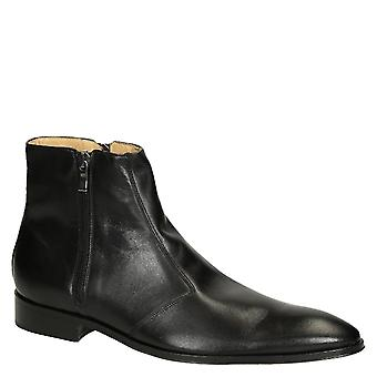 leonardo Shoes Men's pointed toe dress boots in black calf leather with zip