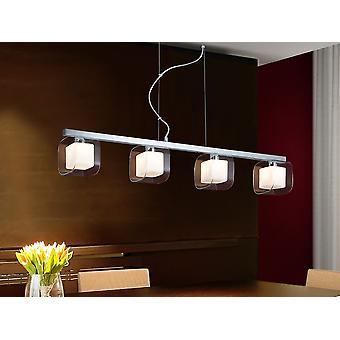 Schuller Cube - Lampe de 4 lumières en acier et métal, finition chromée. Quatre doubles nuances de verre moulé, des extérieurs en clair et des intérieurs en verre opale. - 183431