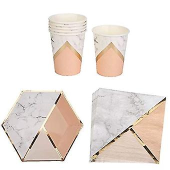 Marble and Peach Party Set Paper Plates Cups and Napkins for 8