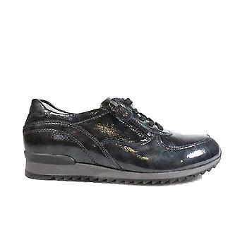 Waldläufer Hurly 370013 143 052 Grau Patent Leder Damen Lace/Zip Up Trainer