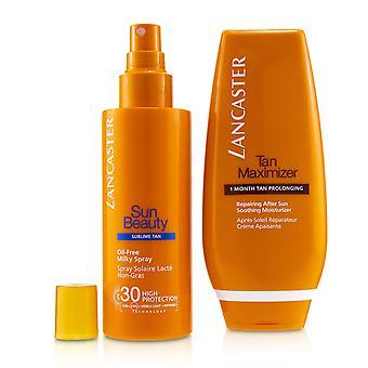Din solpleje rutine for en legendarisk goldan tan sæt: oliefri mælkeagtig spray spf 30 150ml + tan maximizer efter solen 125ml 241162 2stk