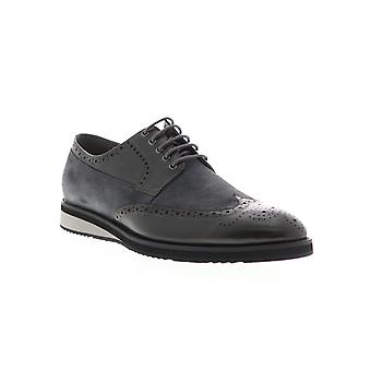 Zanzara Saville  Mens Gray Leather Casual Lace Up Oxfords Shoes