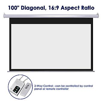 """Yescom 100"""" 16:9 Electric Motorized Movie Screen w/ Remote Control Auto Home Theater Meeting Room Bar"""