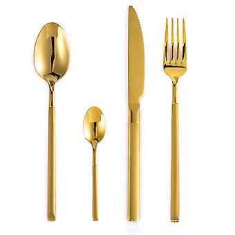 المحمولة 304 الفولاذ المقاوم للصدأ العشاء مجموعة الذهب