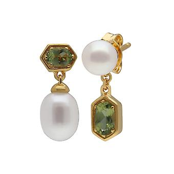 Modern Pearl & Peridot Mismatched Drop Earrings in Gold Plated Sterling Silver 270E030206925