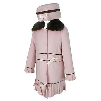 Ontwerper meisjes Baby roze jas met afneembare bont kraag en Hat instellen