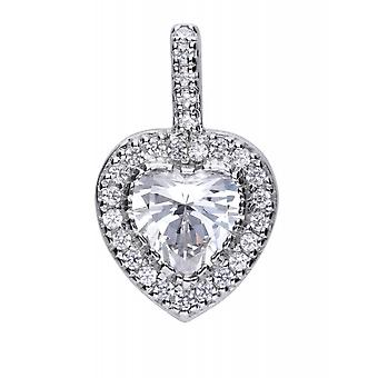 Diamonfire P4616 Silver Pave Heart Pendant