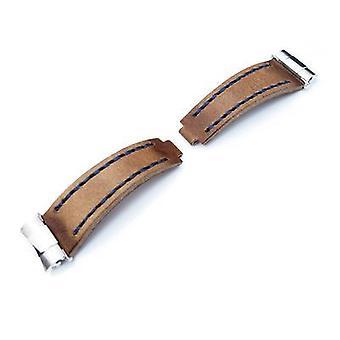Strap strap لـ Rolex Revenge end link - استبدال حزام الساعة المصمم خصيصًا للروليكس ، اللون البني غير اللامع يسحب الجلود ، وsst الأزرق.