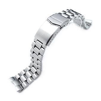 Strapcode watch bracelet 22mm endmill 316l stainless steel watch bracelet for seiko 5, brushed v-clasp