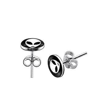 Alien Logo Silver Earring
