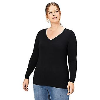 Brand - Daily Ritual Women's Plus Size Jersey Long-Sleeve V-Neck T-Shirt, Black, 3X