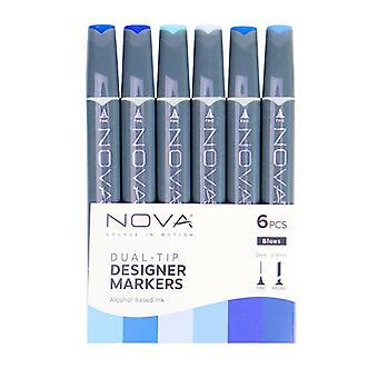 Trimcraft Nova Sketch Markers Blues (6pcs) (NOV002)