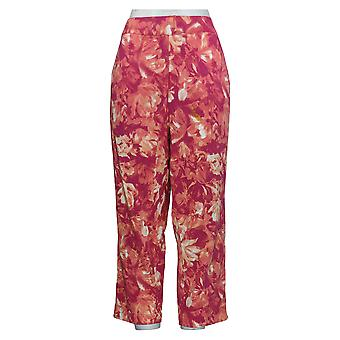 Bob Mackie Women's Pull-On Floral Printed Crop Pants Pink A352093