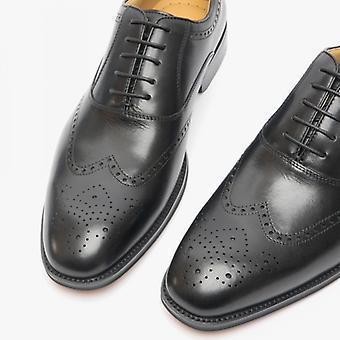 Steptronic Neil Mens Leather Wide Fit Brogue Shoes Black