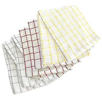 Sensio Home 100% Natural Cotton Terry Tea Towels | Super Absorbent | Lint & Streak free | Ultra Soft 290 GSM Thick Vintage Kitchen 5 Pack 45 x 65cm (Multicolour)
