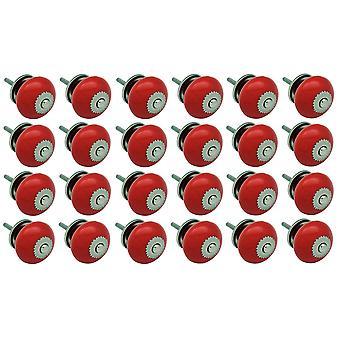 Nicola Spring Cerámica Armario Perillas - Rojo - Pack de 24
