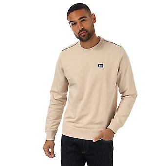 Men's Weekend Offender Dustin Check Crew Sweatshirt in Cream