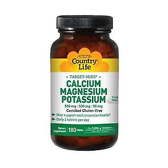 Country Life Cal-Mag-Potassium Target-Mins, 180 Tabs