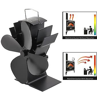 Heat Powered Stove Fan 4 Blades Home Fireplace Fan Log Wood Burner Quiet Efficient Heat Distribution