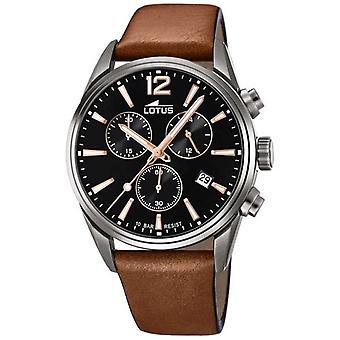 Lotus Men's Brown Leather Strap | Black Chronograph Dial L18683/2 Watch