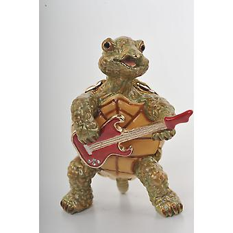 Turtle Playing The Guitar Enamel Painted Trinket Box