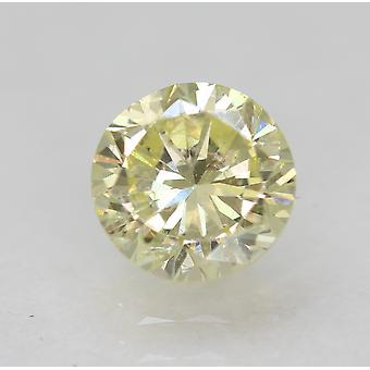 Cert 0.64 Karat Fancy Yellow VVS2 Round Brilliant Enhanced Natural Diamond 5.42m